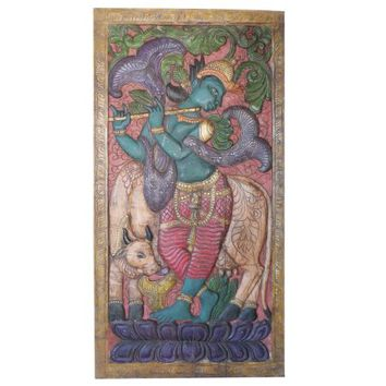 Mogul Vintage Hand Carved Fluting Krishna With His Cow Panel Door Sculpture ECLECTIC DESIGN - Walmart.com