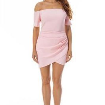 Sweety Ruched Pink Off The Shoulder Dress Short Sleeve