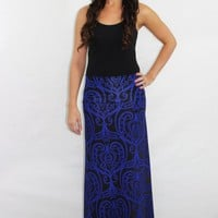 Stop and Stare Damask Blue Maxi Skirt