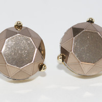 Faceted Round Stud Earrings in Grey and Bronze
