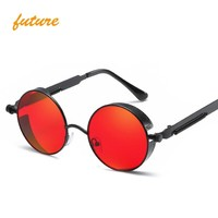 Steampunk Round Metal Sun glasses for Men Women Fashion Brand Designer Retro Vintage Sunglasses high quality UV400 oculos de sol