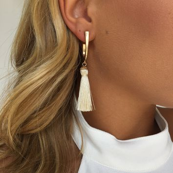Golden Cream Fringe Earrings