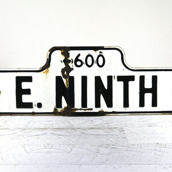 Old Metal Street Sign / Black And White Street Sign / Industrial Decor