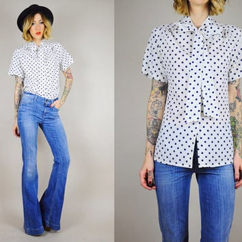 POLKA DOT 80's Ascot BOW neck Blouse Tailored Shirt Secretary top Dolly Minimalist Sm / Med