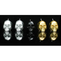 D.L. & CO METALLIC SKULL CANDLE GIFT SET