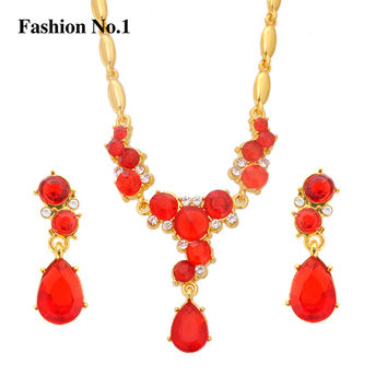 Romantic Crystal Jewellery  Gold Plated Wedding Set Waterdrop Earrings For Women Necklace Jewelry Sets Bridal Choker Femme