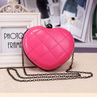 KEYTREND Women Heart Shape Evening Party Bags Ladies Mini Frame Crossbody Shoulder Bags Alloy Chains Fashion Hot Pink Bag KSB155