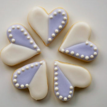 Mini Heart Sugar Cookies with Half Pearl Border - 2 Dozen (24) Mini Cookies