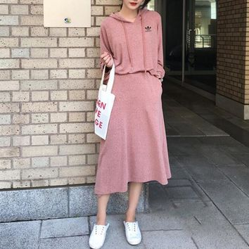 """""""Adidas"""" Women Simple Casual Fashion Knit Long Sleeve Hoodie Skirt Set Two-Piece"""