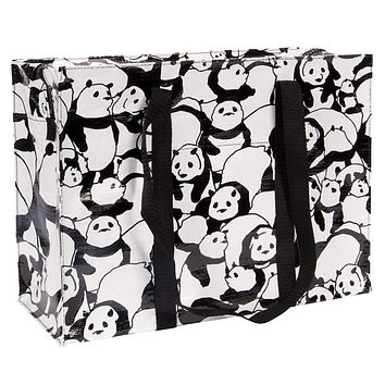 Panda Shoulder Tote Bag in Black and White
