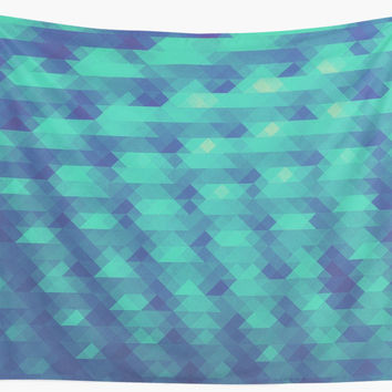 'Modern Fashion Abstract Color Pattern in Blue / Green' Wandbehang by badbugs