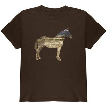 LMFCY8 Horse Field Wild Mustang Youth T Shirt
