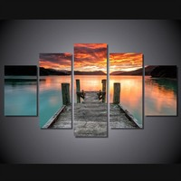 Sunset Lake 5-Piece Wall Art Canvas