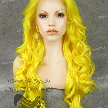 """26"""" Heat Safe Synthetic Lace Front in Curly Texture """"Calypso"""" in Yellow"""