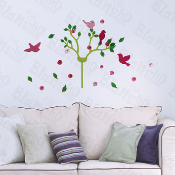 Cherry Blossom & Birds - Hemu Wall Decals Stickers Appliques Home Decor 12.6 BY 23.6 Inches