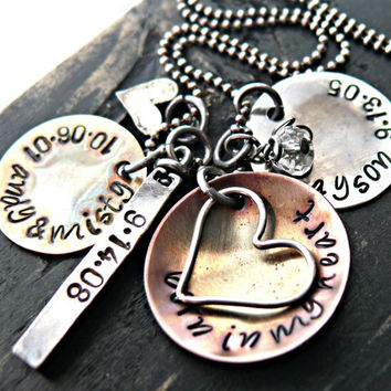 Hand Stamped Necklace - Mothers Necklace - LOTS OF HEARTS combo - Personalized Necklace - Mixed Metals - Hand Stamped Jewelry