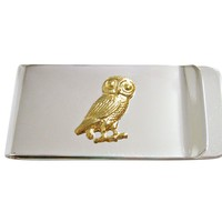 Gold Toned Owl Bird Money Clip