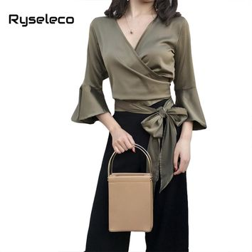 Women Spring Summer Fashion Sexy V-neck Flare Sleeve Criss Cross Wrap Short Blouses Ladies Novelty Bow Ties Vintage Shirts Tops