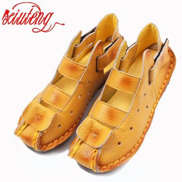 Xiuteng Summer New Soft Bottom Flat Leather Shoes Personality Casual Women Sandals Tun