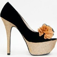 Buy Qupid PSYCHE-05 Glitter Patform High Heel Stiletto Open Toe Floral Rosette Pump at Best Buy Shop