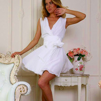 V-neck Short Chiffon Tank Dress
