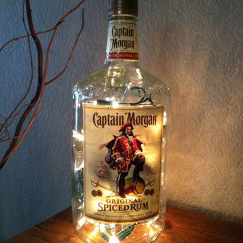 Captain Morgan Rum bottle with white lights.