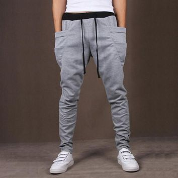 Mens  Harem Pants Joggers Casual Slim Fit Skinny Men Drop Crotch Sweatpants Trousers Sarouel Homme Pantalon Unique Pockets Y046