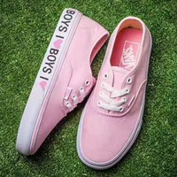 Vans Casual Monogram Print Soles Shoes Women Cloth Shoes Pink G-CSXY