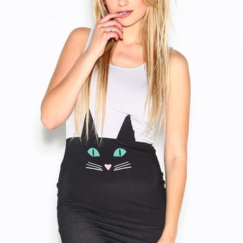 Black And Gray Cat Body Con Dress