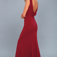 Into the Night Wine Red Backless Maxi Dress