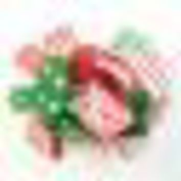 Red Green White Striped Chevron Christmas Hair bow