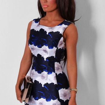Orleans Navy & White Floral Print Skater Dress | Pink Boutique