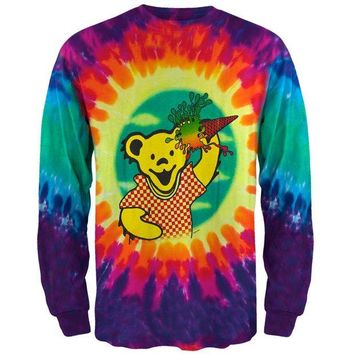 ICIK8UT Grateful Dead Ice Cream Bear Tie Dye Long Sleeve T-Shirt