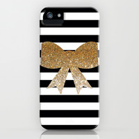 Golden Bows iPhone & iPod Case by Pink Berry Pattern