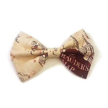 Marauder's Map Bow • Harry Potter Bow • Harry Potter Gift • Mischief Managed Bow • Nerdy Girls Gifts • Ron Weasley Bow • Fantastic Beasts