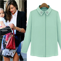 Green Long Sleve Chiffon Blouse with Bead design