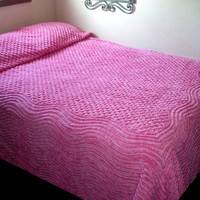 Vintage Shabby Chic Pink Chenille Bedspread Full Queen