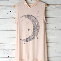 Crescent Moon Hooded Tunic Dress