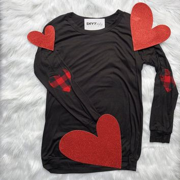 Last Chance Long Sleeve Heart Shaped Buffalo Plaid Elbow Patch N1