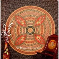 Buy Online Green Ethnic Indian Bohemian Tapestry Round Beach Towel