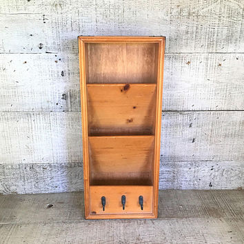 Mail Holder Mid Century Mail Organizer Wood Wall Mount Letter Holder Wooden Mail Sorter Key Hooks and Mail Sorter Wood Storage Bill Holder