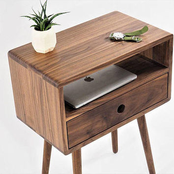 Mid-century nightstand with drawer, night stand, bed side table, side table, open shelf, modern table, modern nighstand