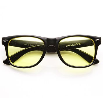Retro Horned Rim Sunglasses With Yellow Driving Lens 8451