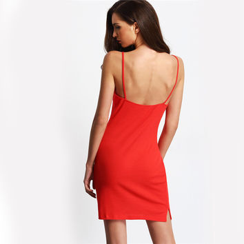 Red Buttons Front Ribbed Spaghetti Strap Mini Dress