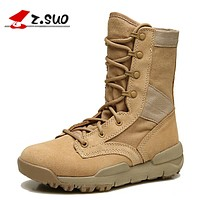 Waterproof Men Tactical Boots military Leather Stitching Canvas Outdoor Desert Boots Ultra-light Breathable Boots Men