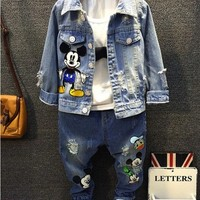 Mickey Children Ripped Jeans Boys Denim Jacket