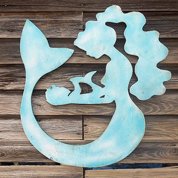 Mermaid & Baby Silhouette -Sign - Beach House Coastal Wall Art Wooden Nursery