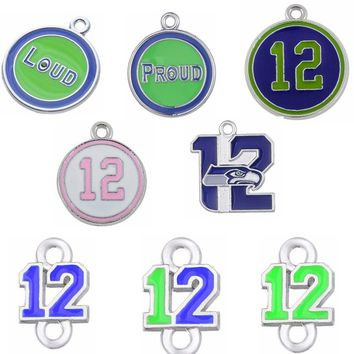 7 Styles Enamel Football Seahawks Proud And Loud 12 Charms The Forever 12 Pendant Charms For DIY Necklace Jewelry