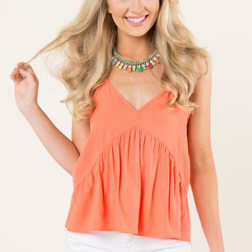 Everly Too Perfect Coral Orange Top