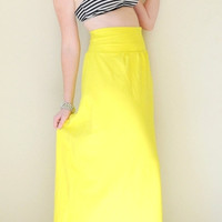 Flowy High Waist Maxi Skirt Hand Dyed in Stretch Knit Cotton - Gathered Bohemian Extra Long Maxi Skirt - Wear 2 Ways - Sizes XS, S, M, L, XL